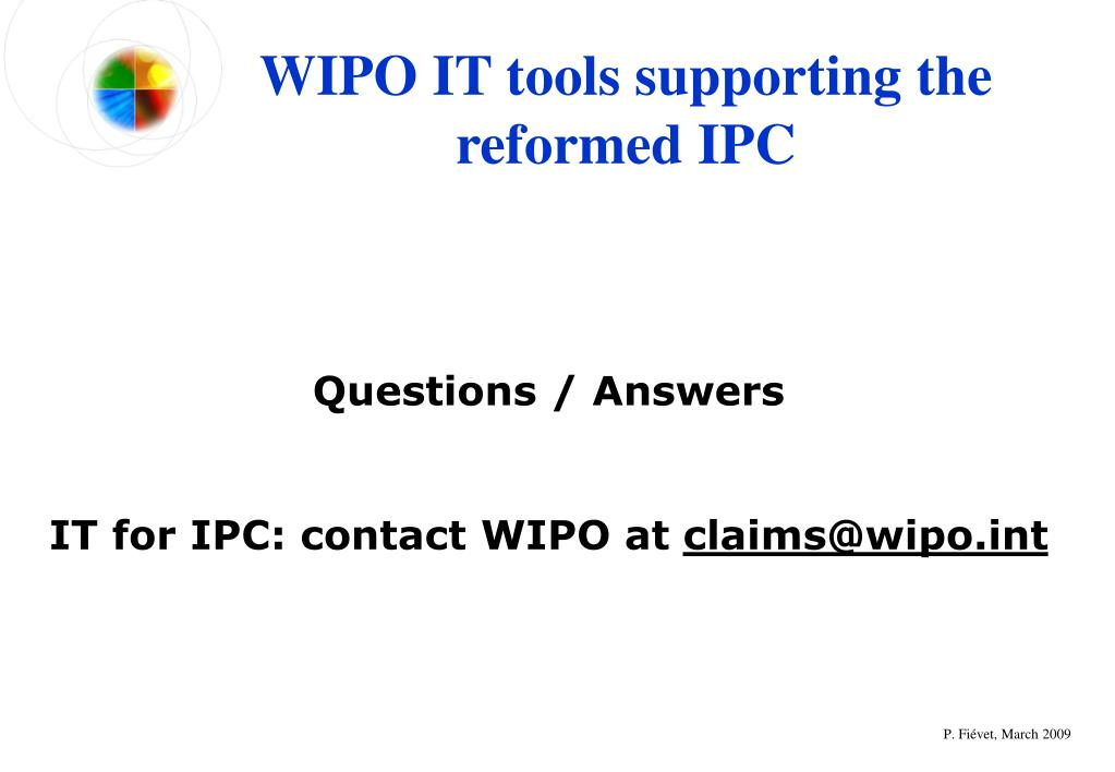 WIPO IT tools supporting the reformed IPC