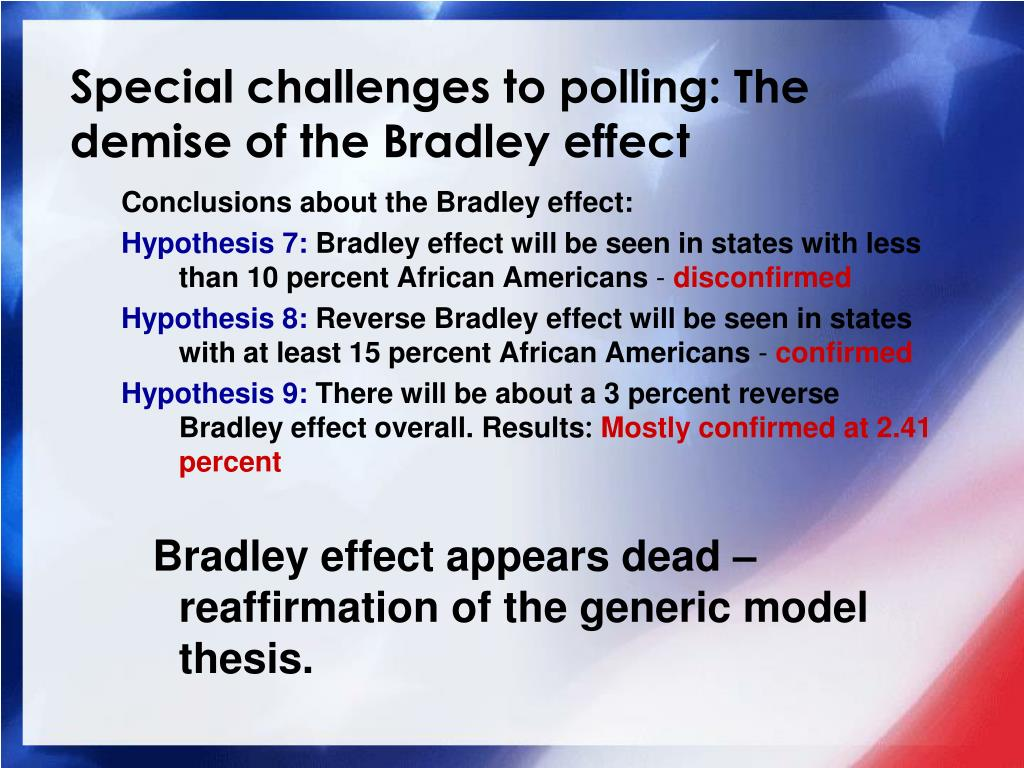 Special challenges to polling: The demise of the Bradley effect
