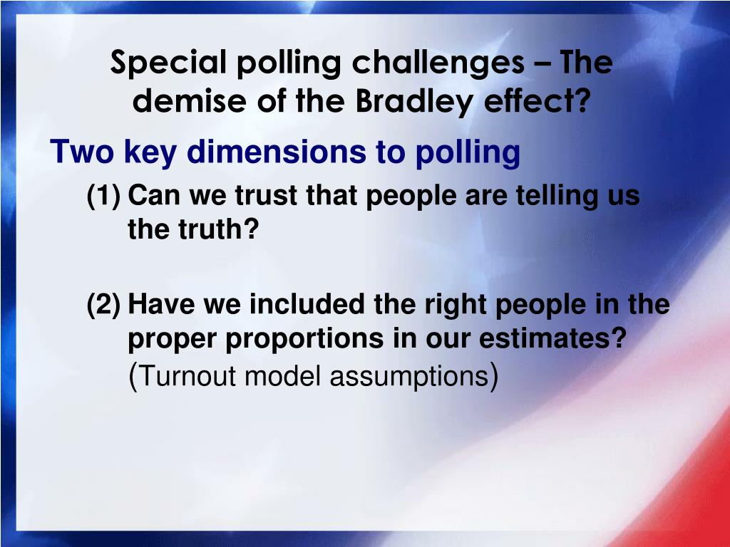 Special polling challenges – The demise of the Bradley effect?