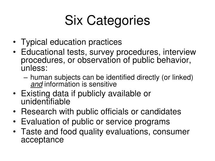 Six Categories