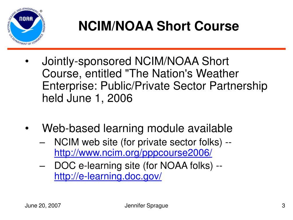 NCIM/NOAA Short Course