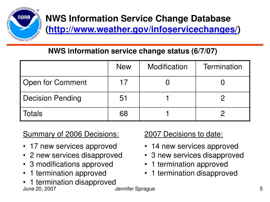 NWS Information Service Change Database (