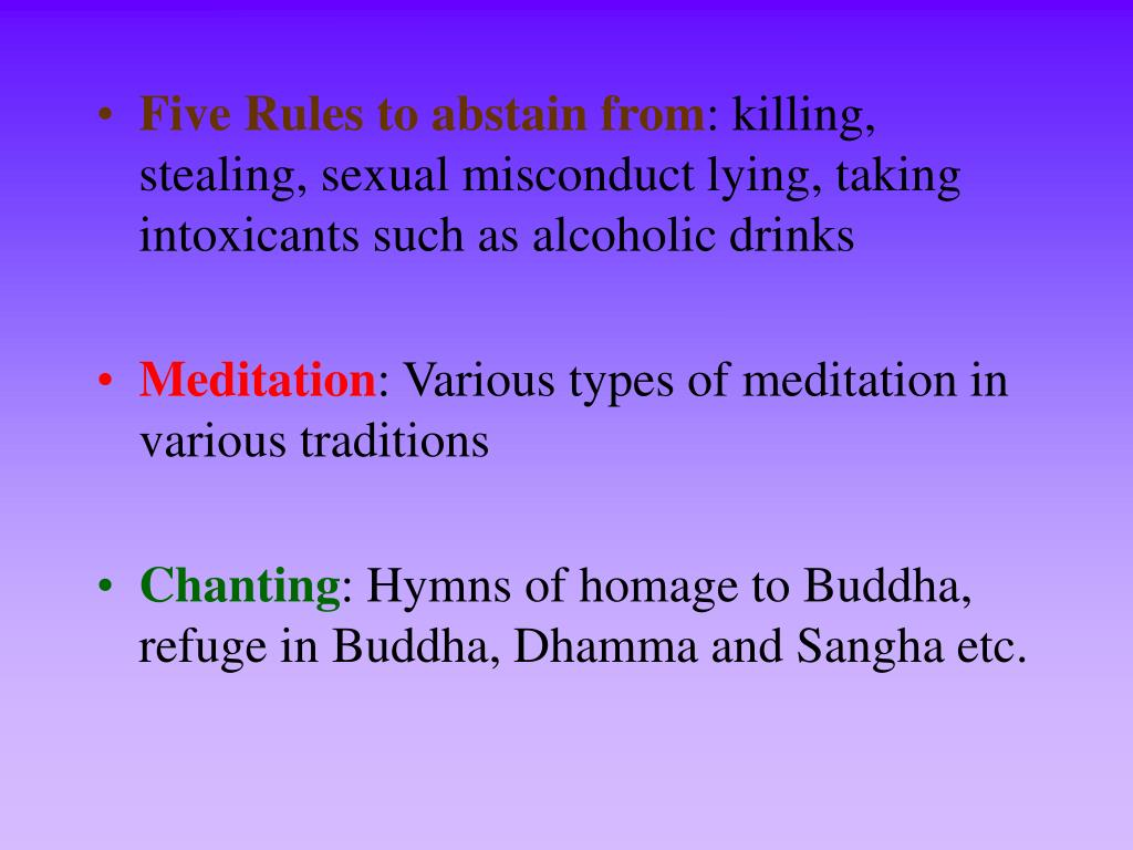 Five Rules to abstain from