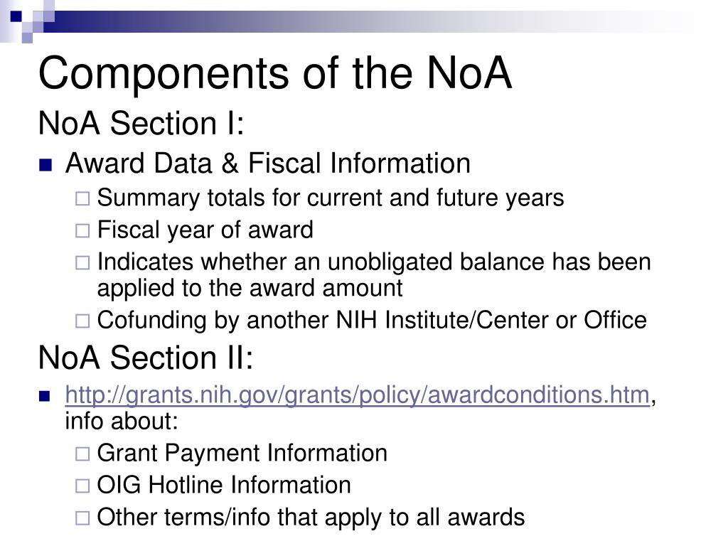 NoA Section I: