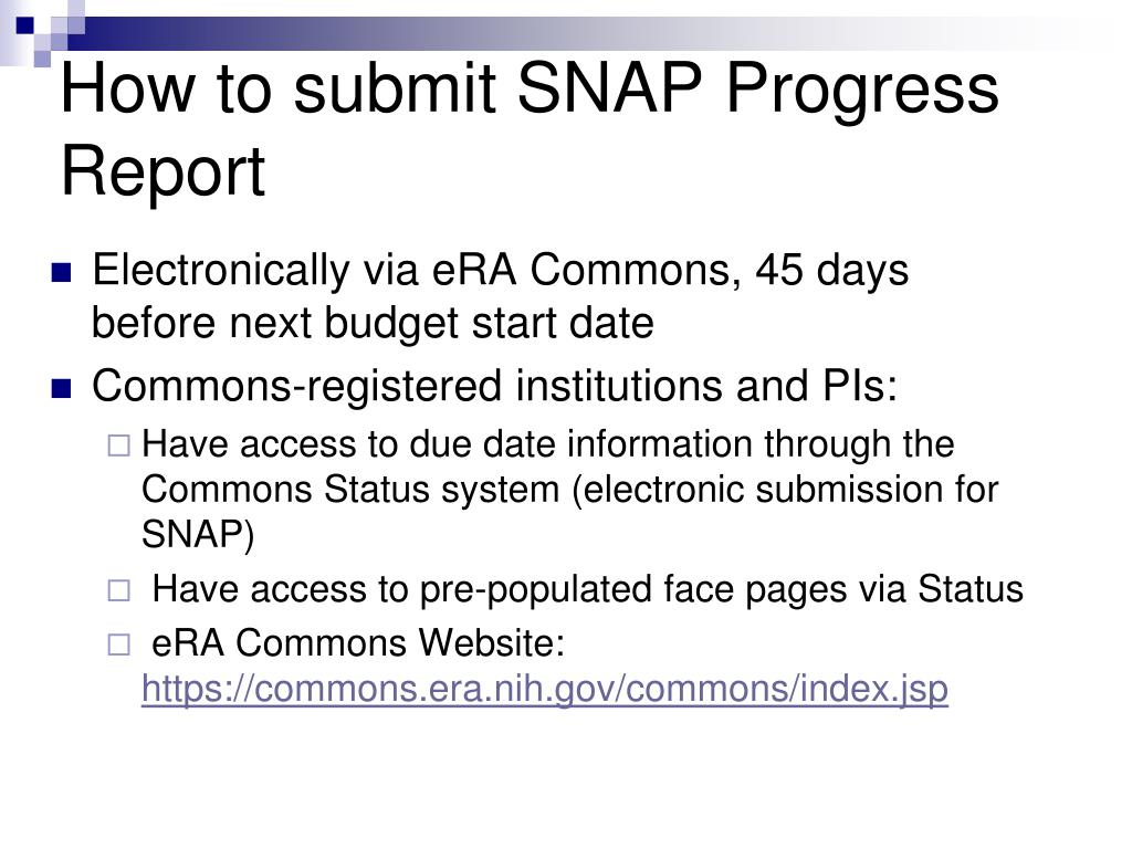 How to submit SNAP Progress Report