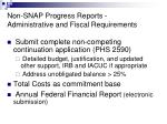 non snap progress reports administrative and fiscal requirements