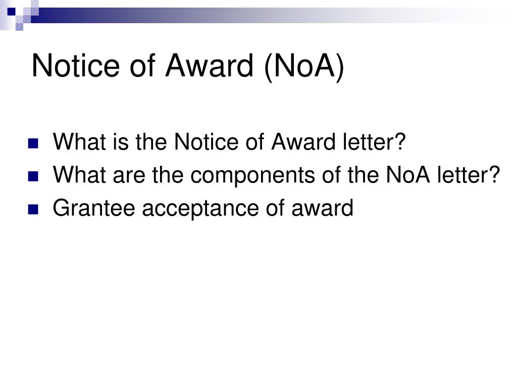 Notice of Award (NoA)
