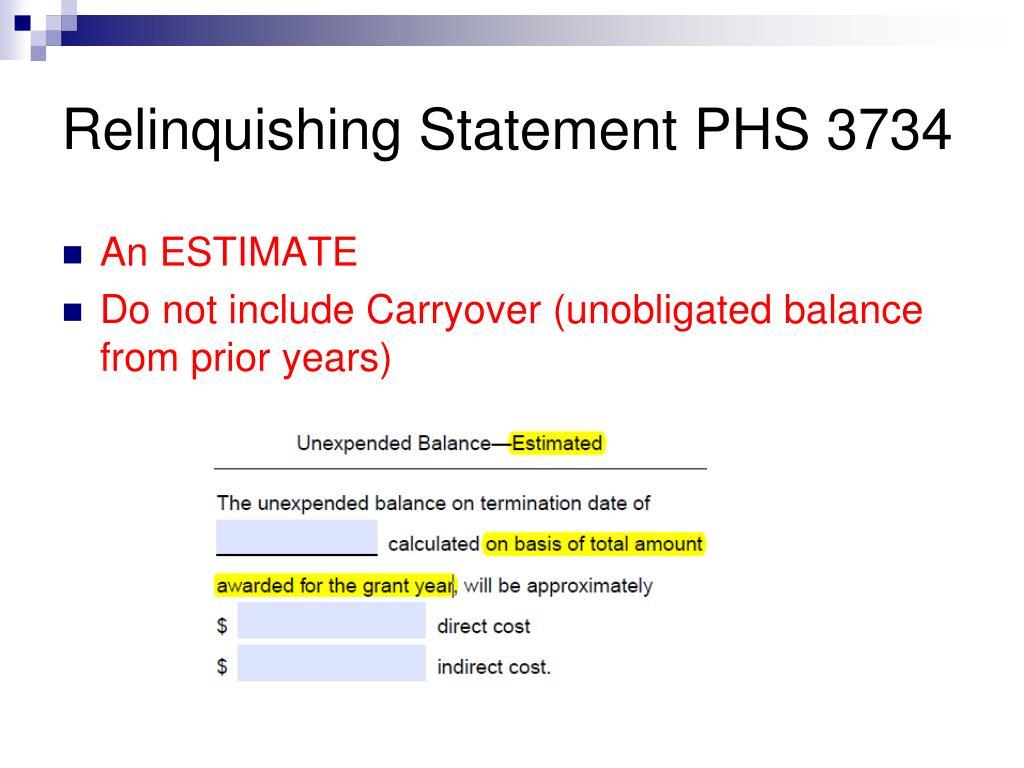 Relinquishing Statement PHS 3734