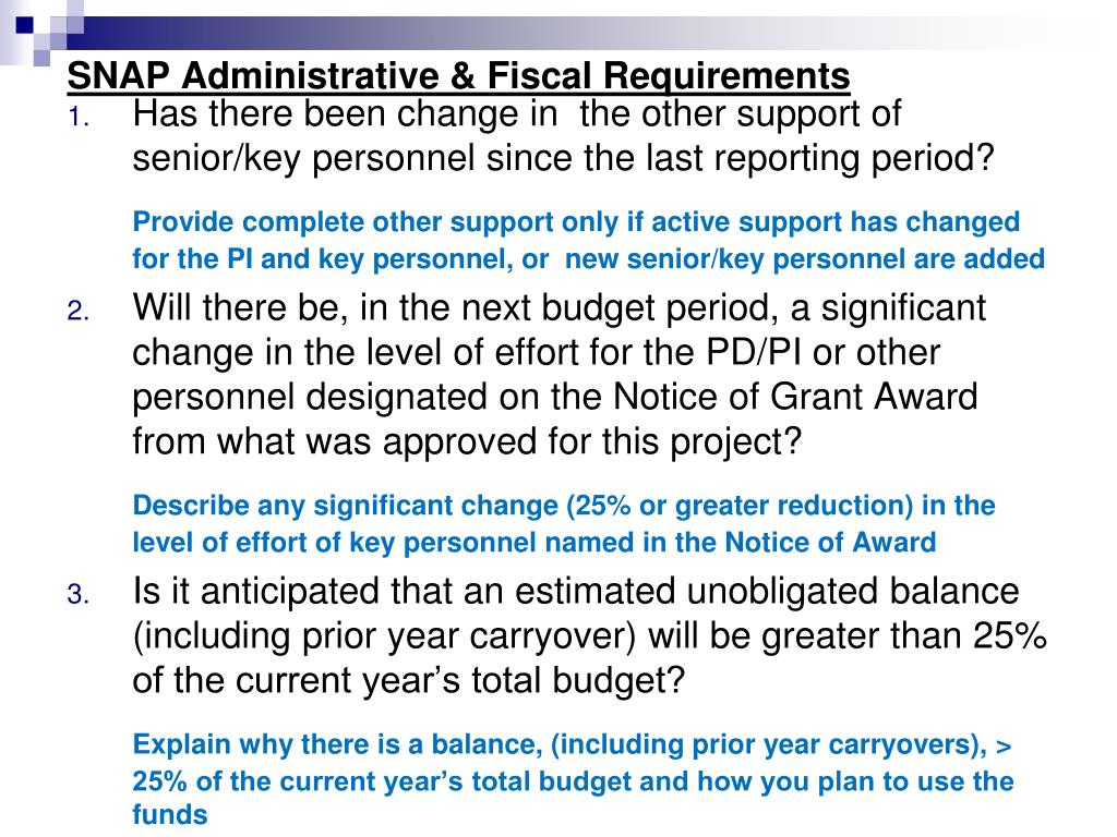 SNAP Administrative & Fiscal Requirements