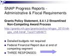 snap progress reports administrative fiscal requirements