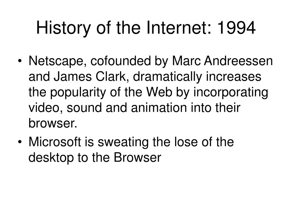 History of the Internet: 1994