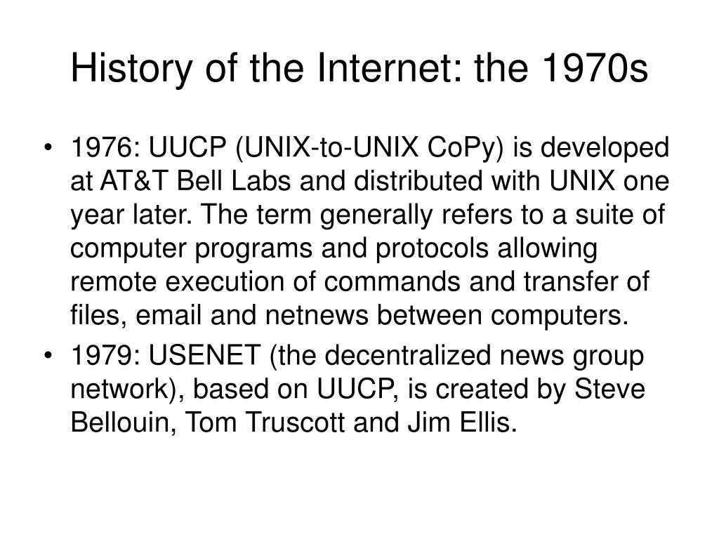 History of the Internet: the 1970s