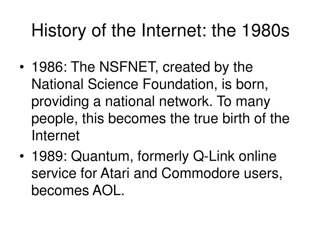 History of the Internet: the 1980s