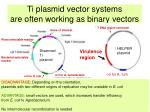 ti plasmid vector systems are often working as binary vectors