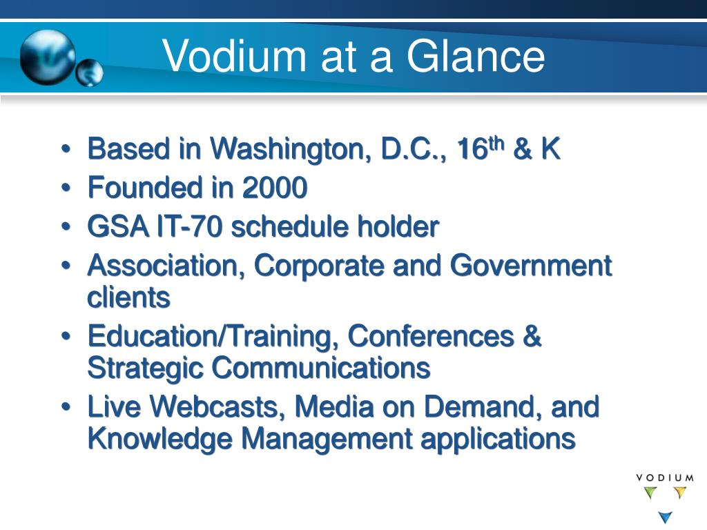Vodium at a Glance