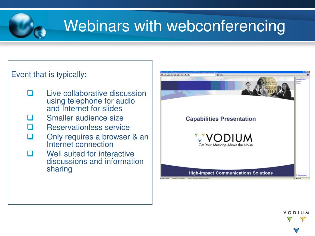 Webinars with webconferencing