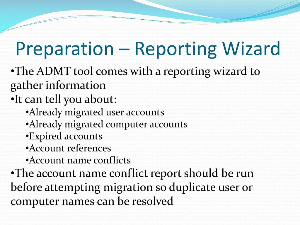 Preparation – Reporting Wizard