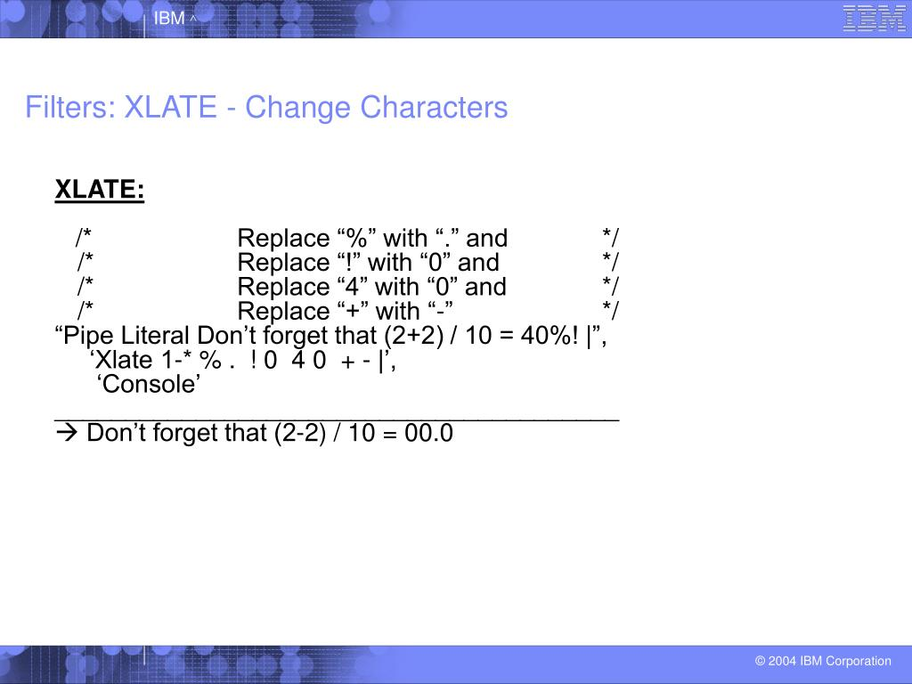 Filters: XLATE - Change Characters