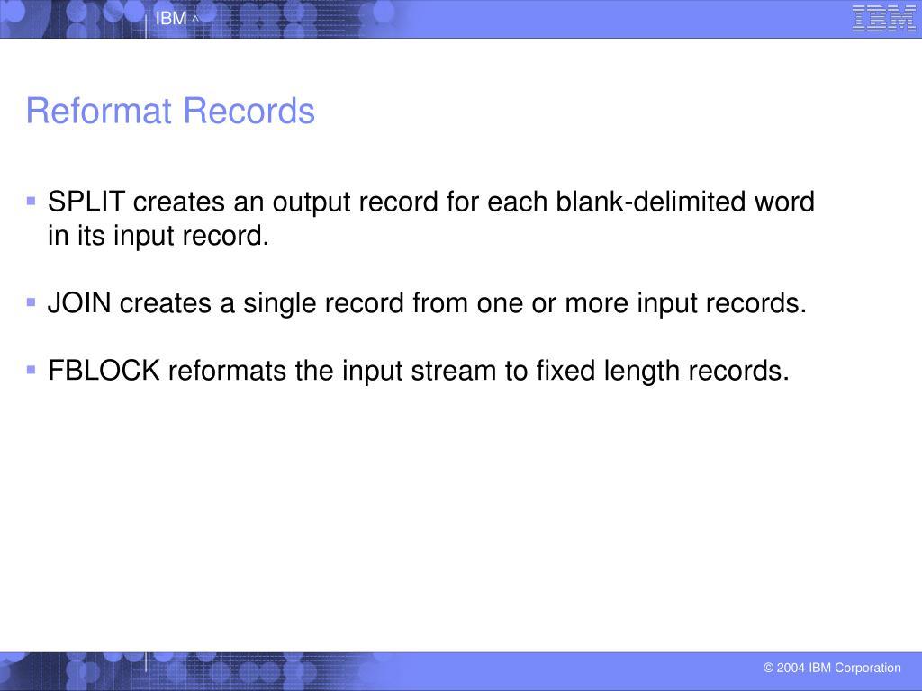 Reformat Records