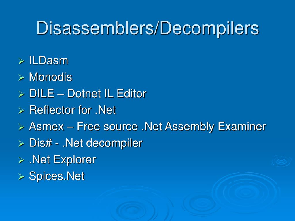 Disassemblers/Decompilers