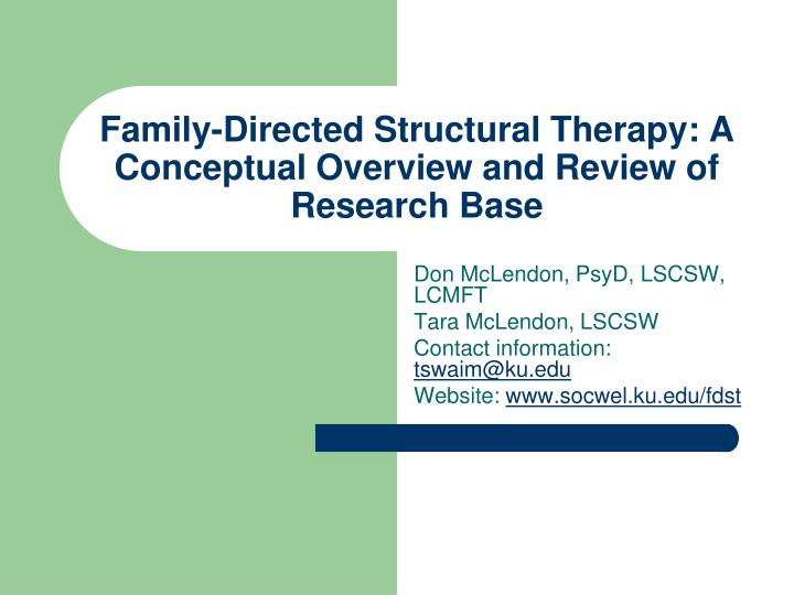 an overview of family therapy Family therapy is a way for you and your family to learn how to maintain healthy family relationships, communicate effectively with family members, and work cooperatively to solve family problems this type of therapy is unique, in that problems are viewed through a broader lens and as part of the complex system of the family.