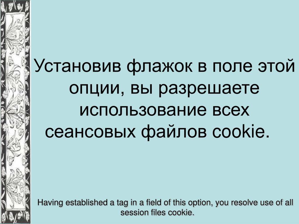 Установив флажок в поле этой опции, вы разрешаете использование всех сеансовых файлов