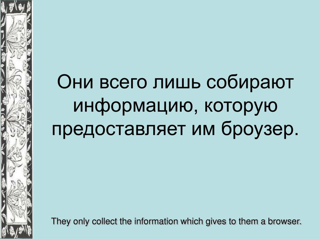 Они всего лишь собирают информацию, которую предоставляет им броузер.