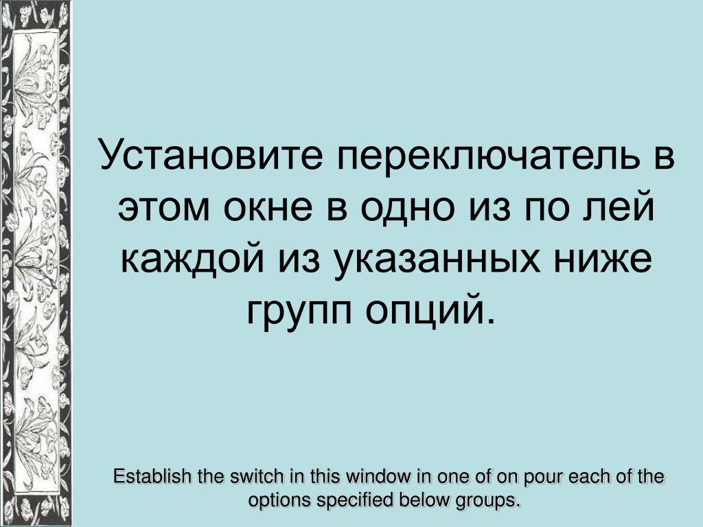 Установите переключатель в этом окне в одно из по лей каждой из указанных ниже групп опций.