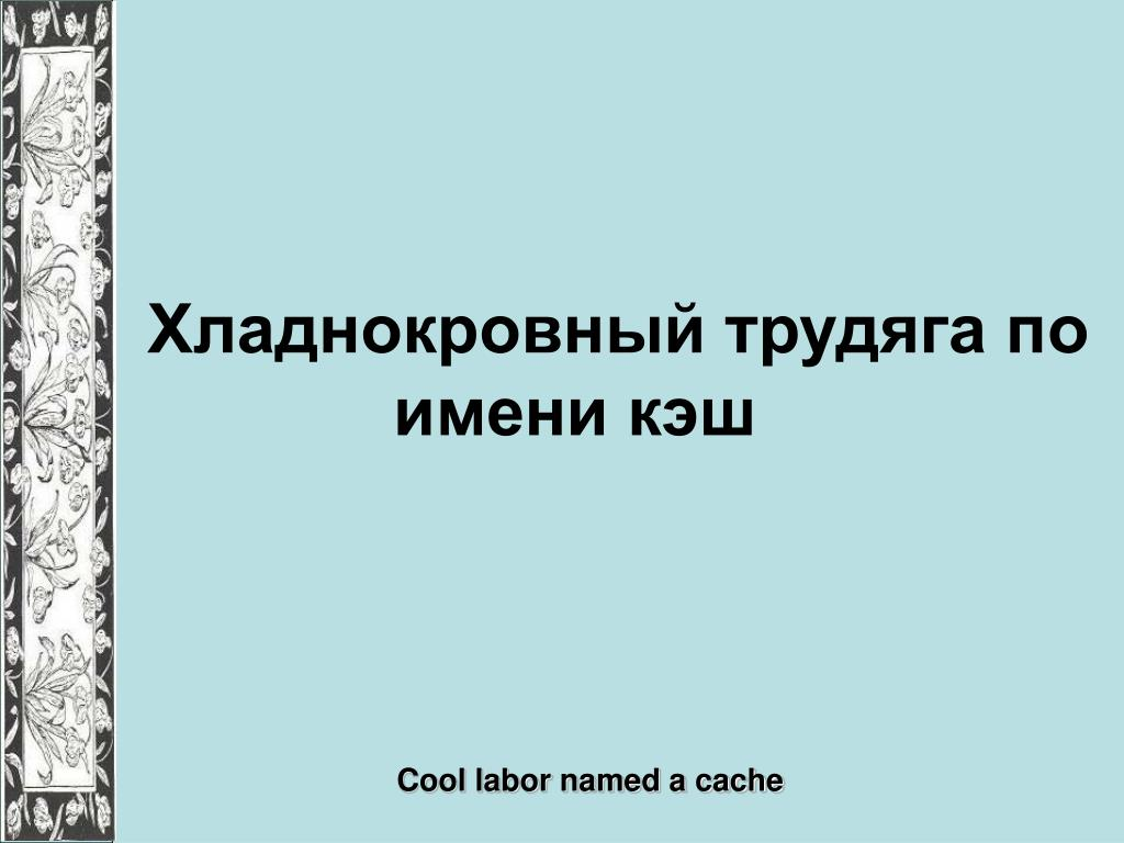 Хладнокровный трудяга по имени кэш