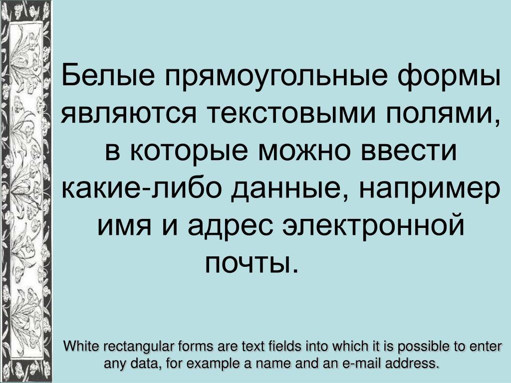Белые прямоугольные формы являются текстовыми полями, в которые можно ввести какие-либо данные, например имя и адрес электронной почты.