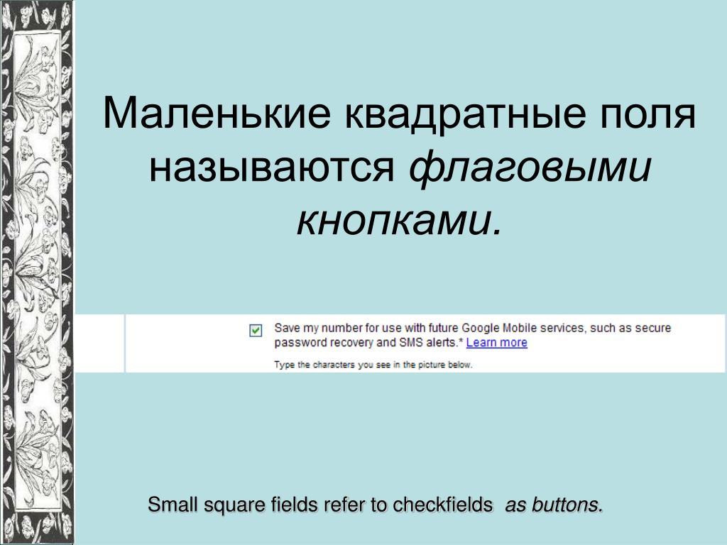 Маленькие квадратные поля называются