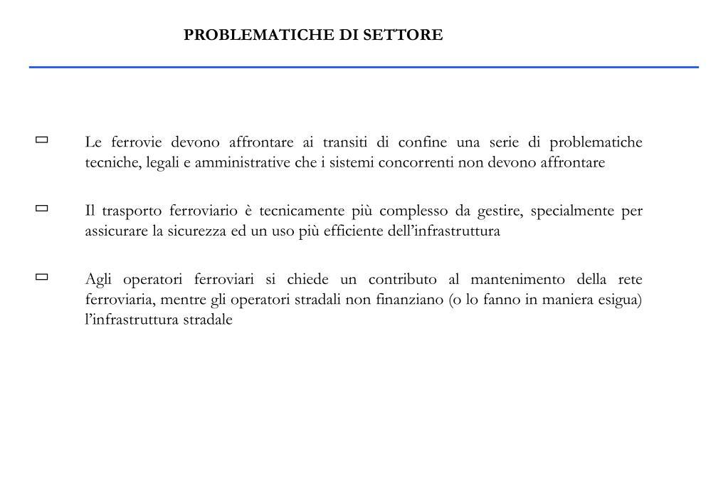 PROBLEMATICHE DI SETTORE