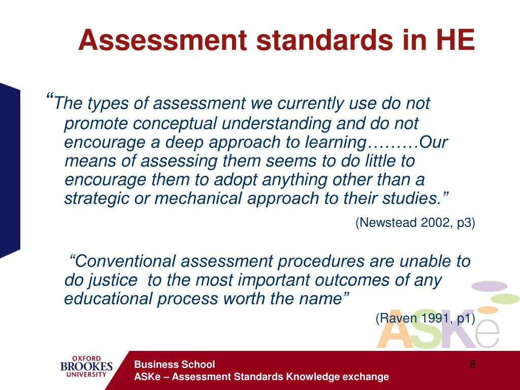 Assessment standards in HE