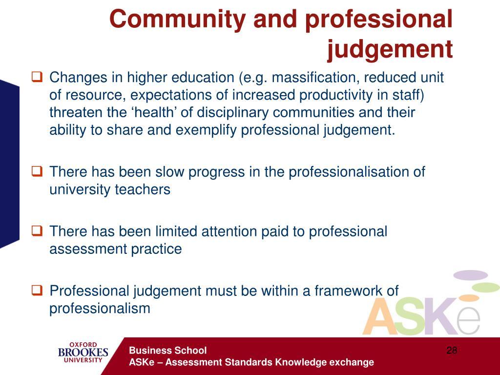 Community and professional judgement