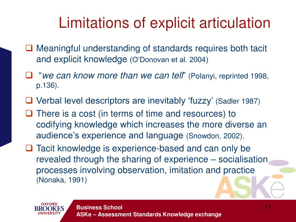 Limitations of explicit articulation