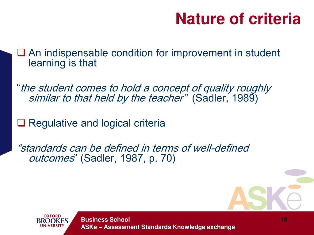 Nature of criteria