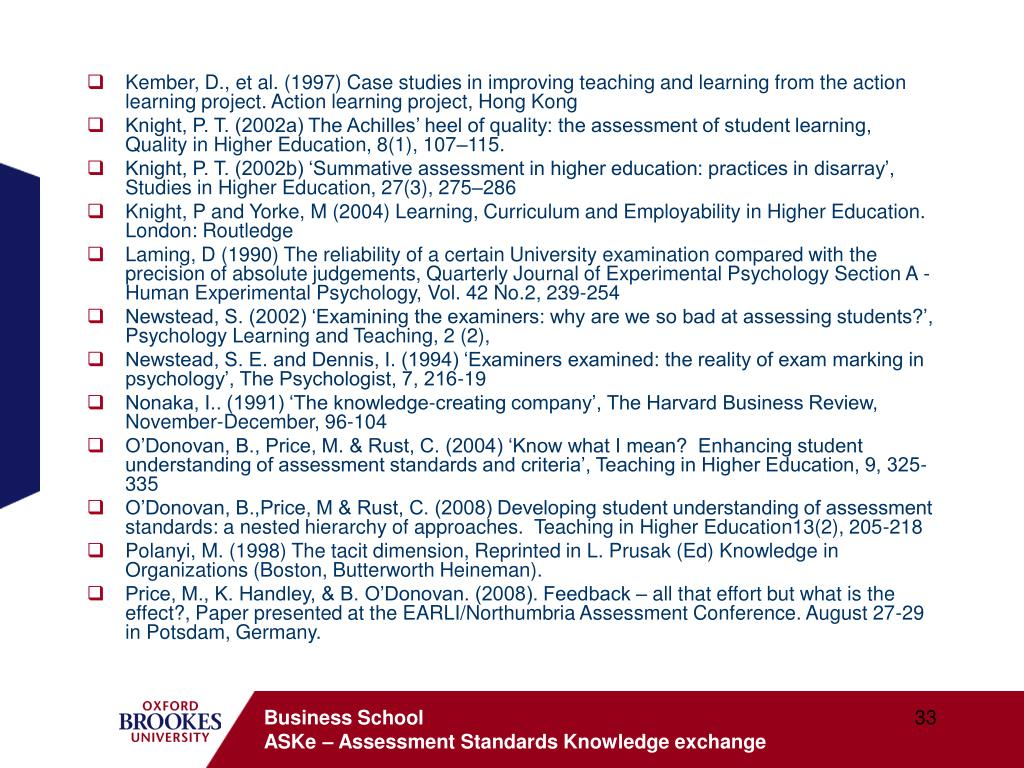 Kember, D., et al. (1997) Case studies in improving teaching and learning from the action learning project. Action learning project, Hong Kong
