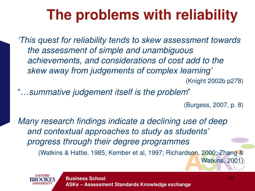 The problems with reliability
