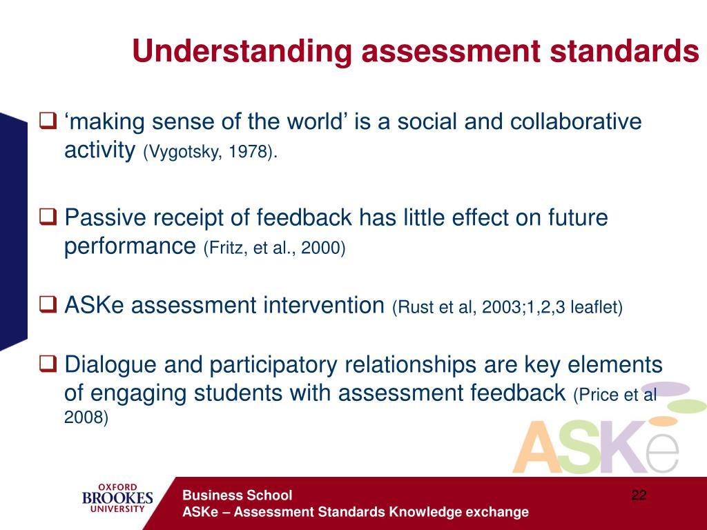 Understanding assessment standards