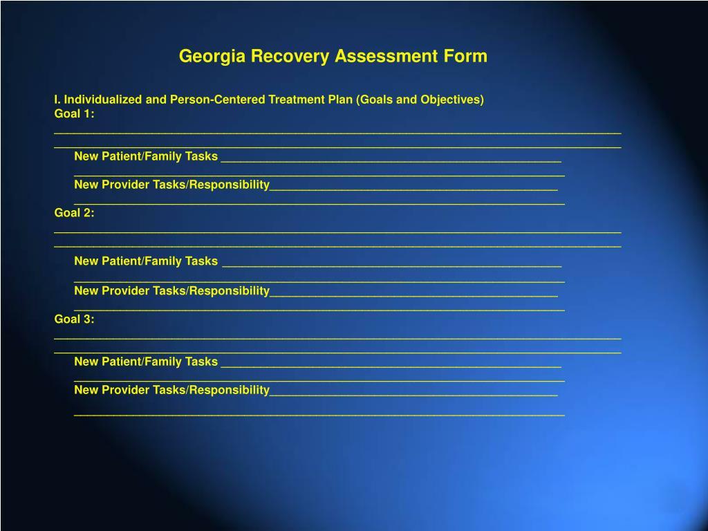 Georgia Recovery Assessment Form