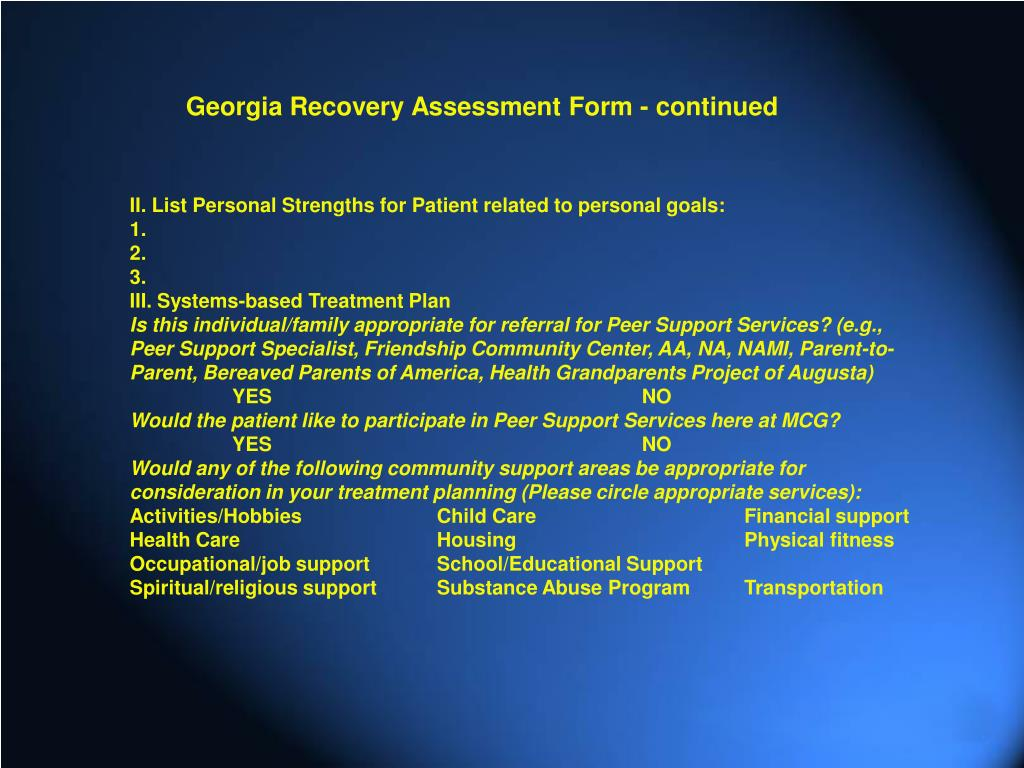 Georgia Recovery Assessment Form - continued