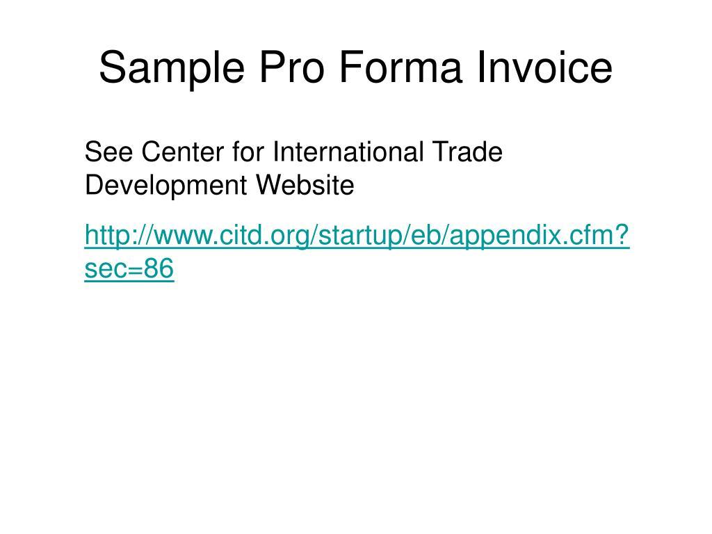 Sample Pro Forma Invoice