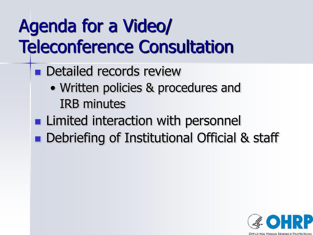 Agenda for a Video/