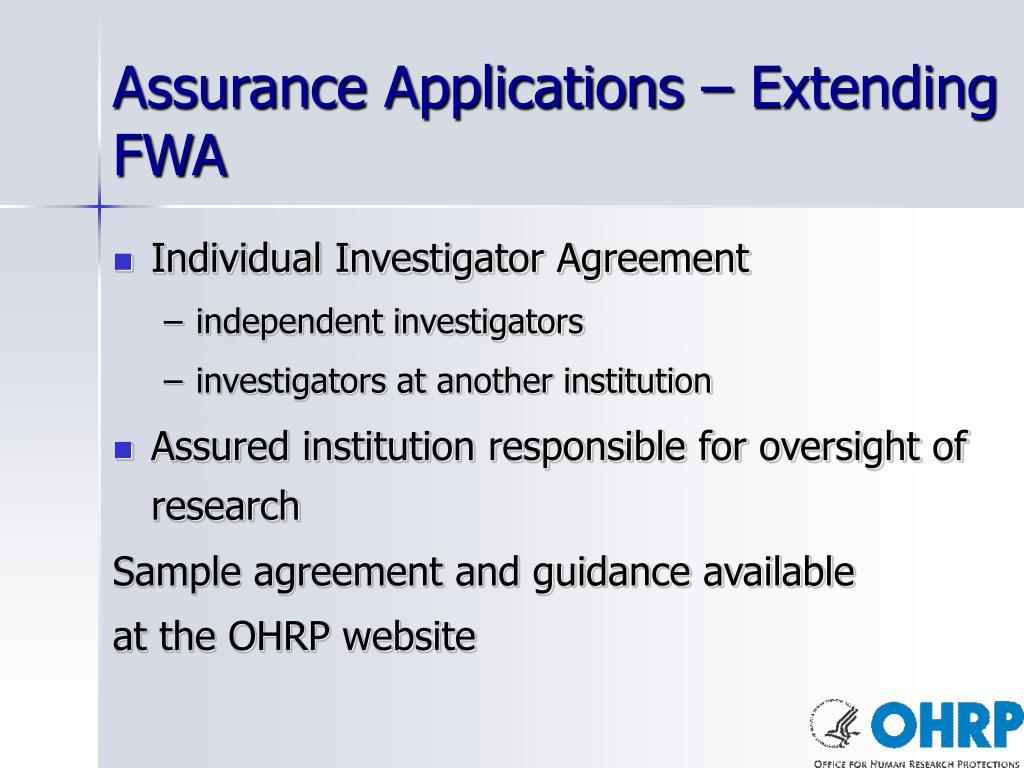 Assurance Applications – Extending FWA