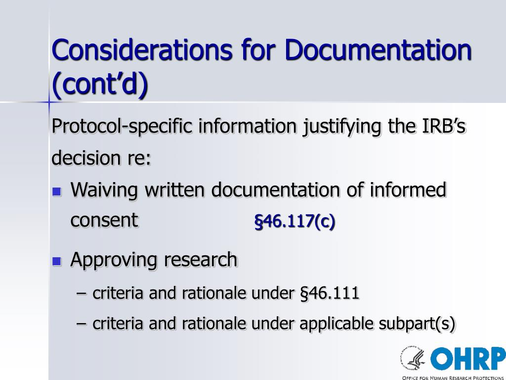 Considerations for Documentation (cont'd)