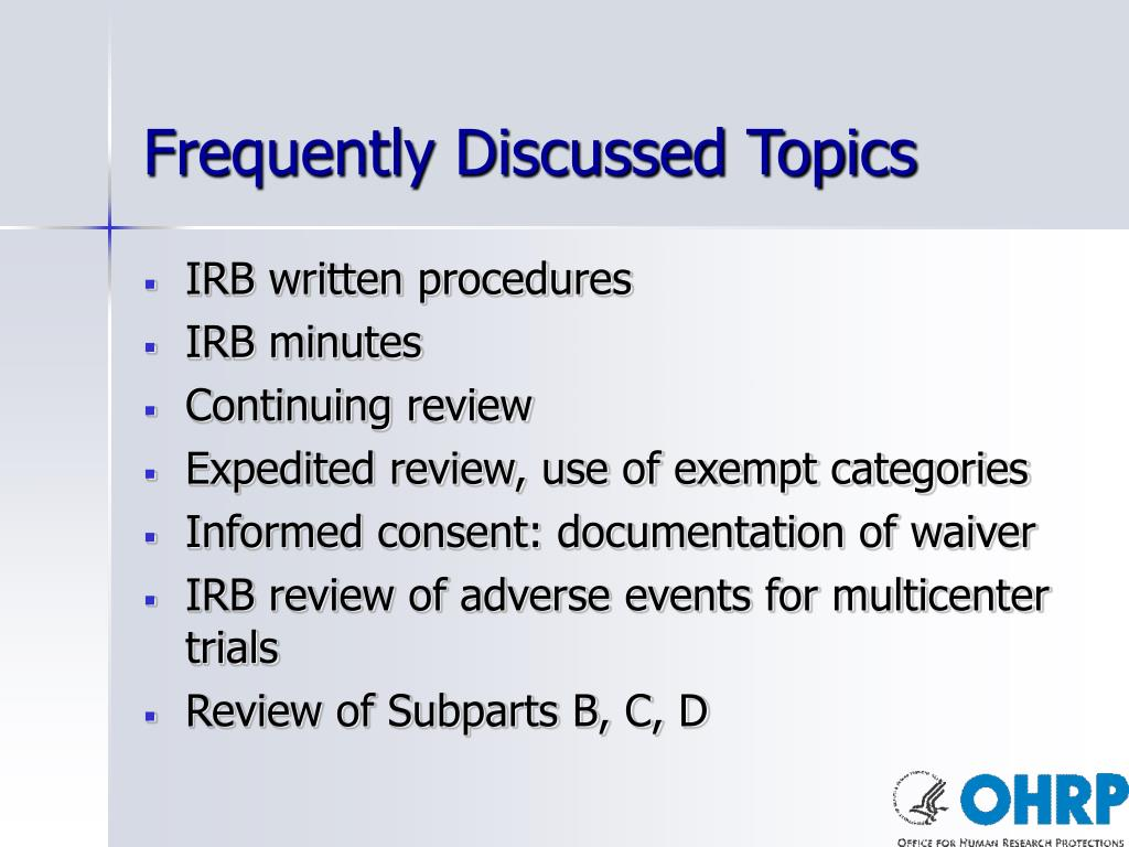 Frequently Discussed Topics