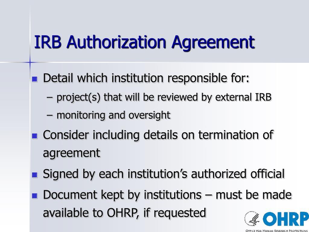 IRB Authorization Agreement