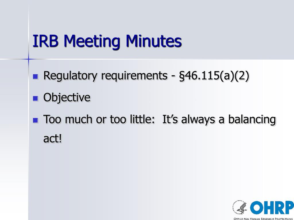 IRB Meeting Minutes