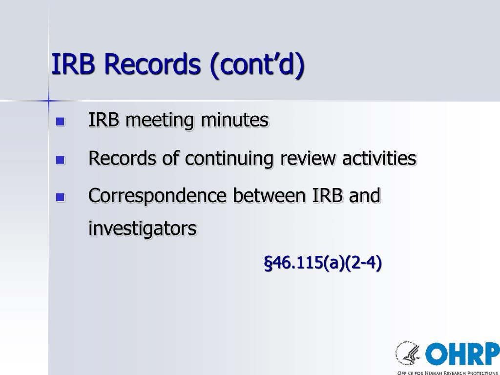 IRB Records (cont'd)