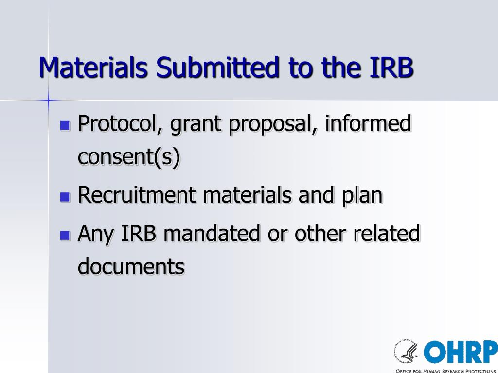 Materials Submitted to the IRB